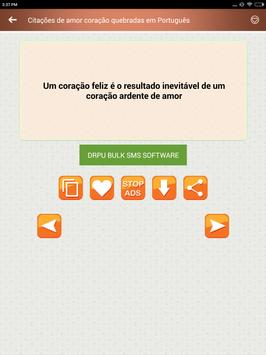 Citações de amor coração quebradas em Português screenshot 16