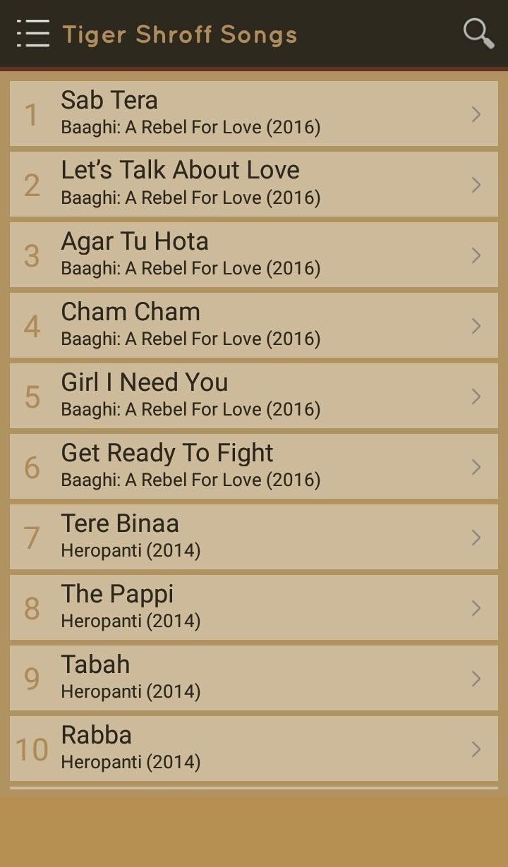 Hit Tiger Shroff Songs Lyrics for Android - APK Download