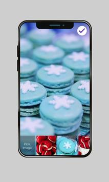 Delicious Sweet Macaron Snowflakes Lock Screen apk screenshot