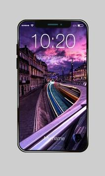 Purple Sky City Space Flowers Lock Screen Password poster