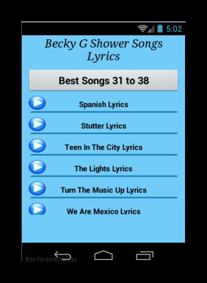 Becky G Shower Songs Lyrics for Android - APK Download