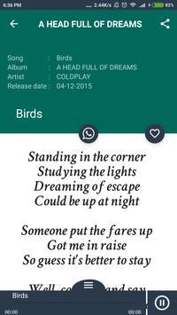 Hit COLDPLAY Album Songs Lyrics screenshot 2