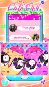 Cute Owl Keyboard with Emoji apk screenshot