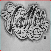 tattoo lettering design icon