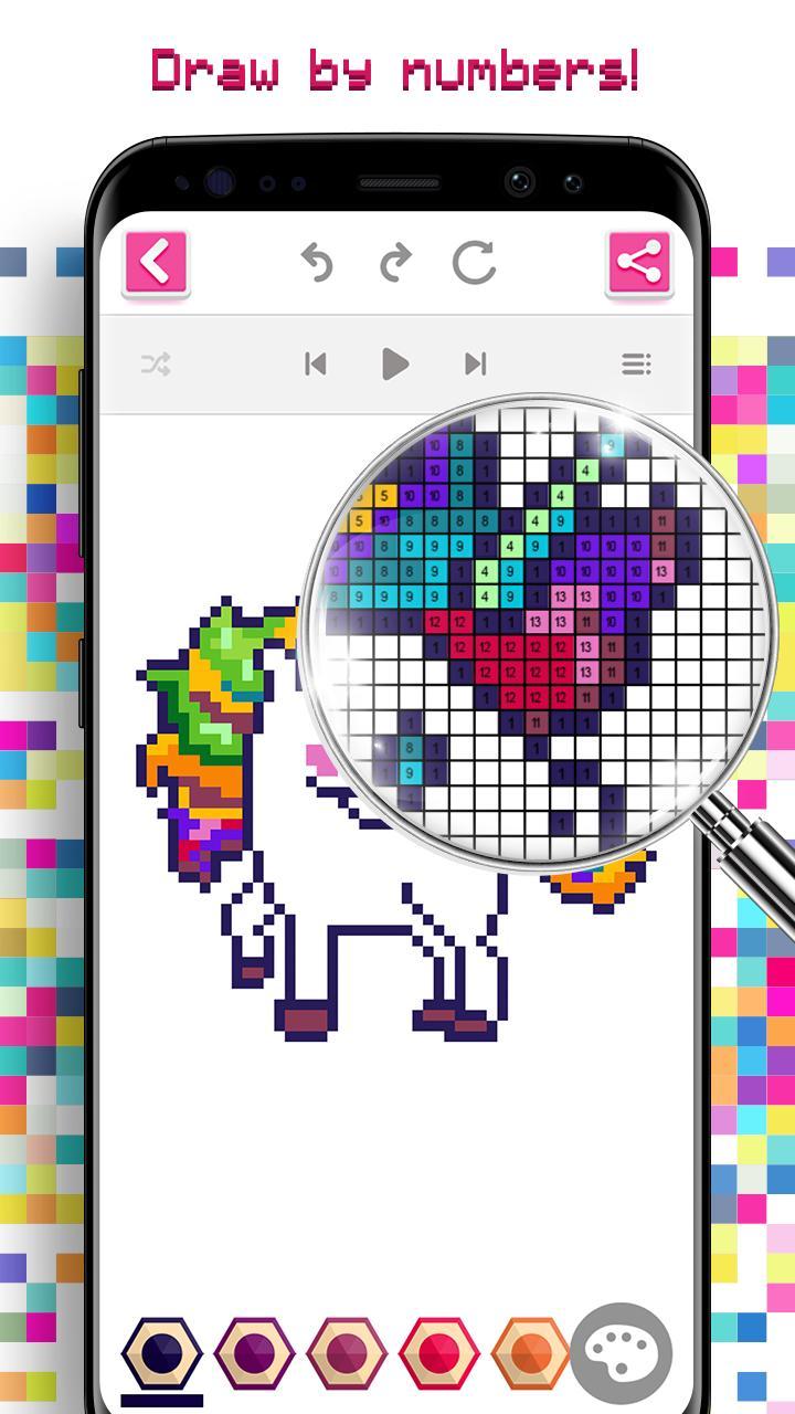 Android Icin Tek Boynuzlu Boyama Oyunu Piksel Sayiya Gore Renk