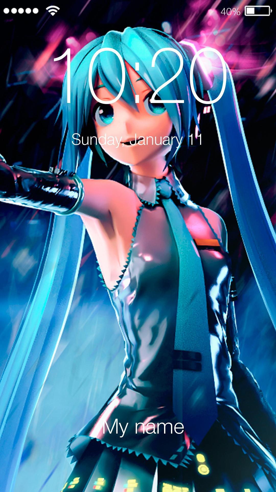 7f289bfe4f Hatsune Miku Anime Singer Pin Lock Password pour Android ...