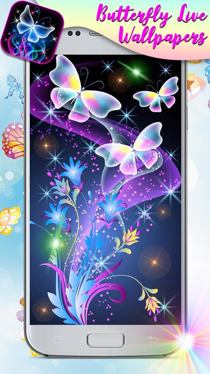 Android 用の ネオン 蝶 と キラキラ 背景 スマホ ライブ 壁紙 無料