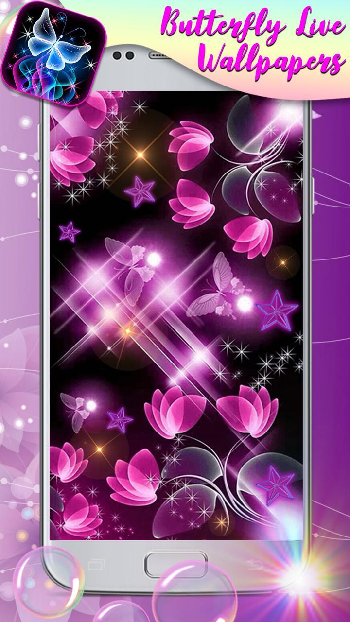 Android 用の ネオン 蝶 と キラキラ 背景 スマホ ライブ 壁紙 無料 アプリ Apk をダウンロード