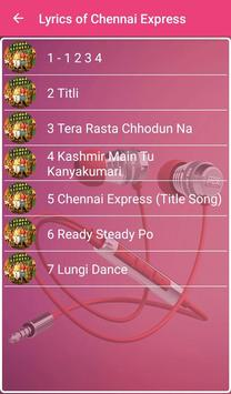 Chennai Express Songs Lyrics apk screenshot