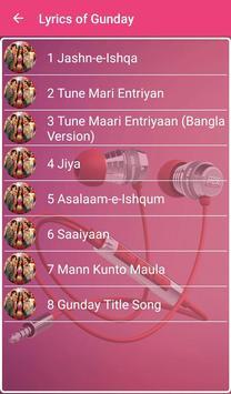 Gunday Songs Lyrics screenshot 1