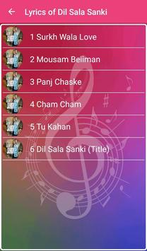 Lyrics of Dil Sala Sanki apk screenshot