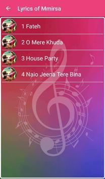 Lyrics of Mmirsa apk screenshot