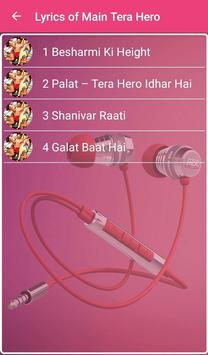 Main Tera Hero Songs Lyrics apk screenshot