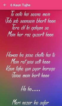 Top 10 Hindi Love Songs Lyrics screenshot 5