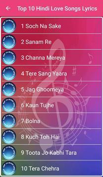 Top 10 Hindi Love Songs Lyrics screenshot 1