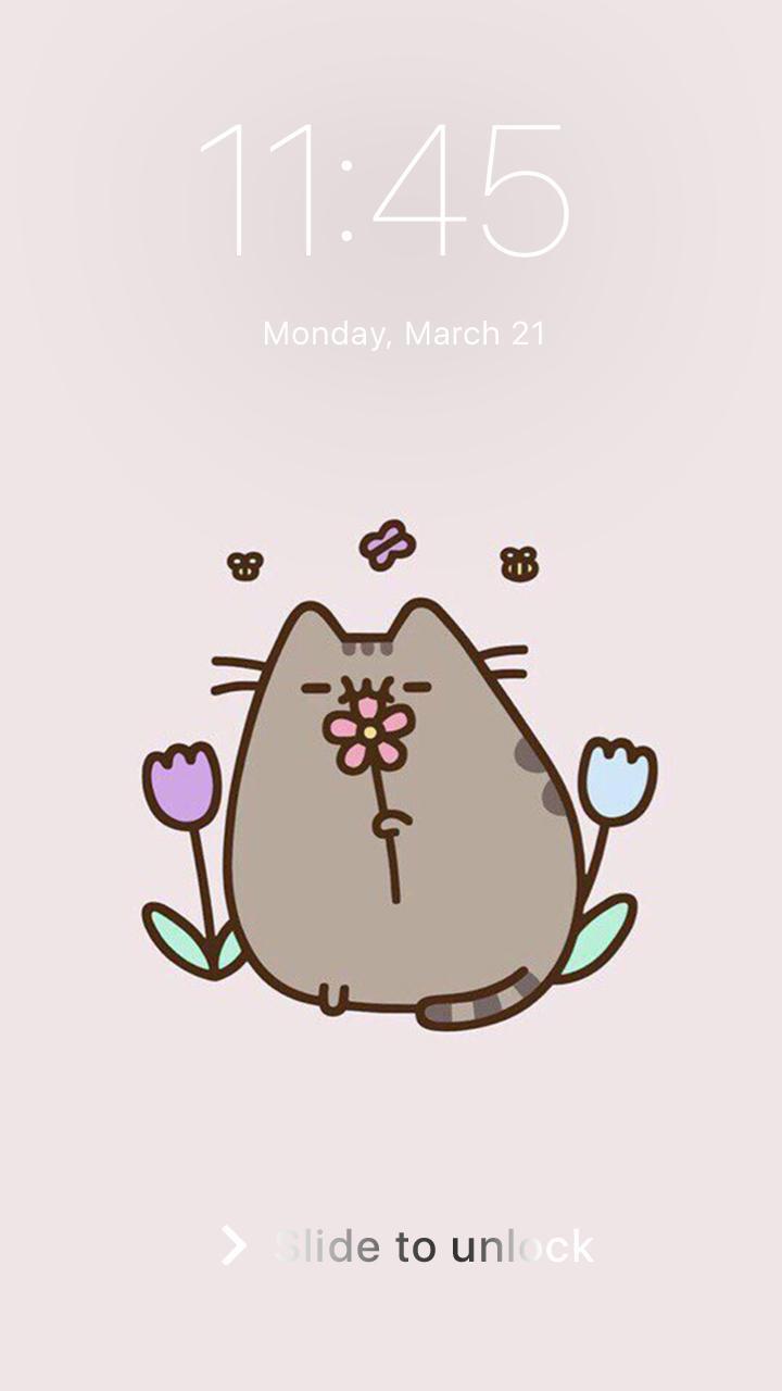 Cute Pusheen Kawaii Cat Elephant Lock Wallpaper для андроид