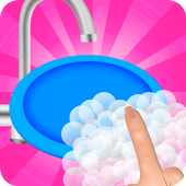 washing dishes clean game icon