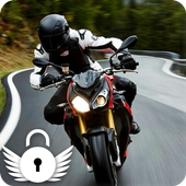 Moto Racing Rider Traffic Road  PIN Lock Screen icon