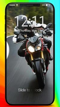 Moto Racing Rider Traffic Road  PIN Lock Screen poster