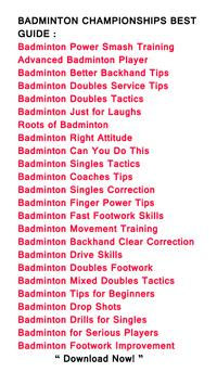 Badminton Best Guide apk screenshot