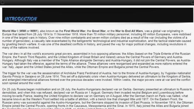 First World War History 1914 – 1918 (WW1) apk screenshot