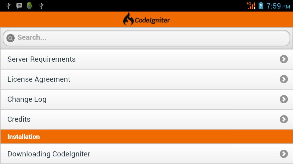 CodeIgniter User Guide for Android - APK Download