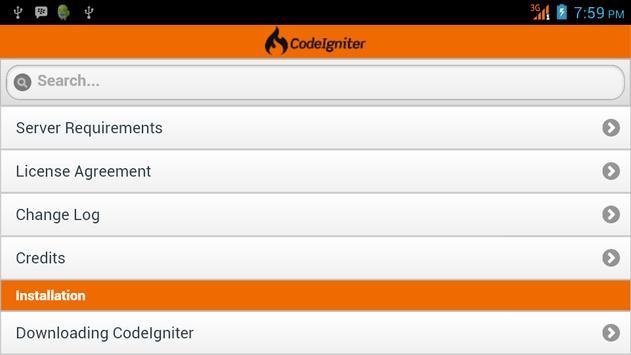 CodeIgniter User Guide apk screenshot