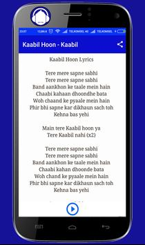 Kaabil Hoon Song Lyric Popular apk screenshot