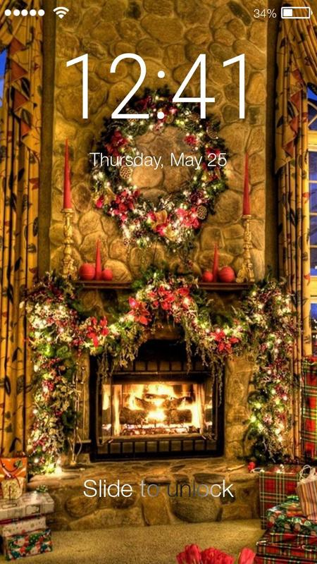 christmas fireplace screen lock poster