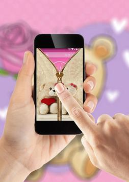 Cute Bear Zipper Lock Screen apk screenshot