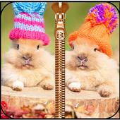 Cute Bunny Zipper Lock Screen icon