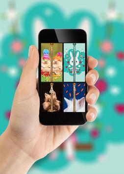 Cute Bunny Zipper Lock Screen poster