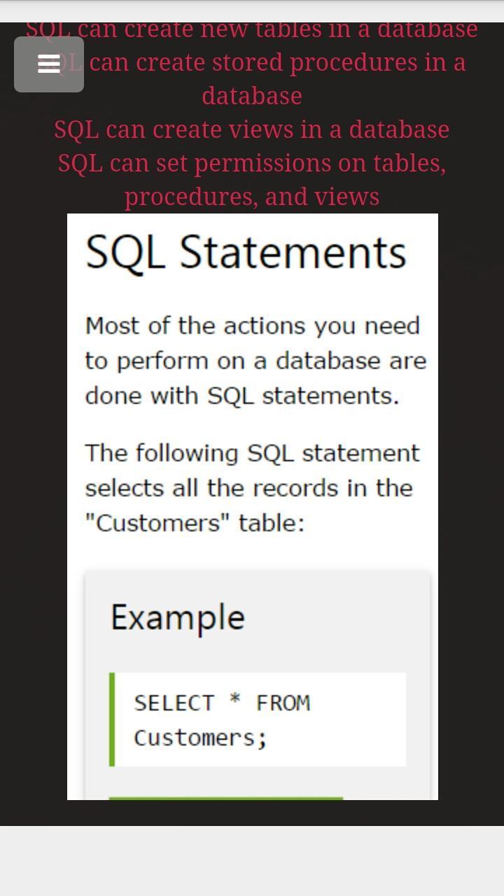 W3Schools SQL Offline for Android - APK Download
