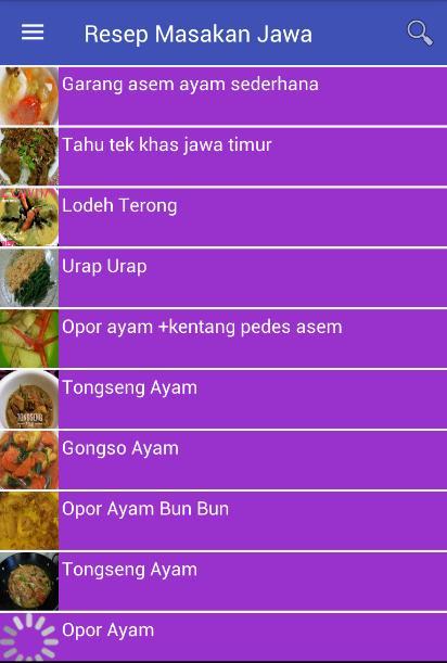 Resep Masakan Jawa Screenshot