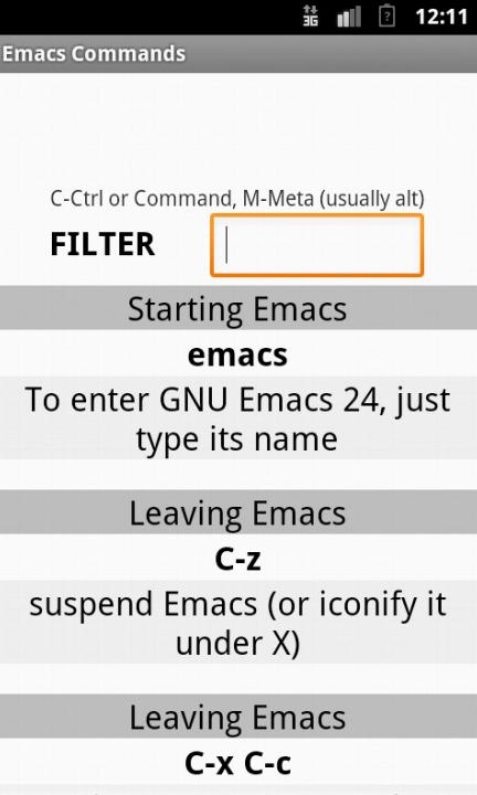Emacs Commands / Cheat Sheet for Android - APK Download