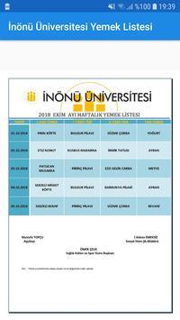 İnönü Üniversitesi Yemek Listesi poster