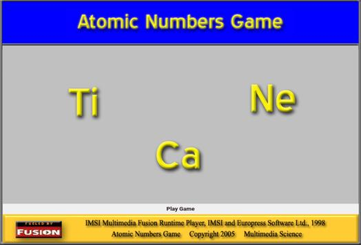 Chemistry - Atomic Number Game poster