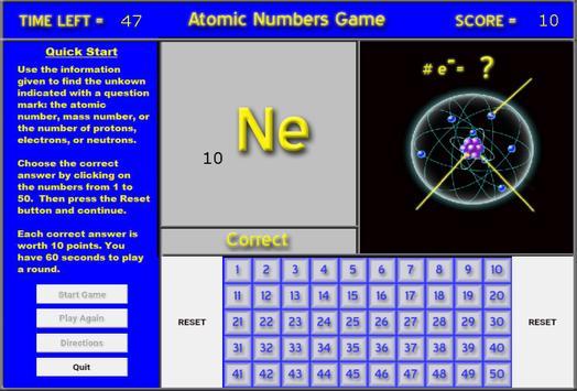 Chemistry - Atomic Number Game screenshot 1