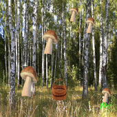 mushrooms and busket icon
