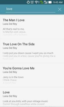 Letras de Lana Del Rey apk screenshot