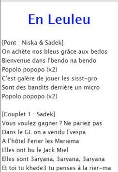 Lyrics Sadek feat. Niska - En leuleu apk screenshot