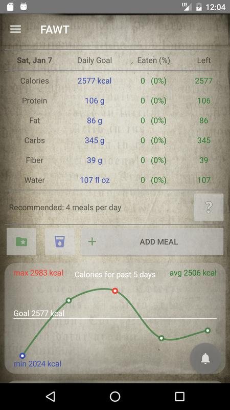 food and weight tracker lite calorie counter for android apk