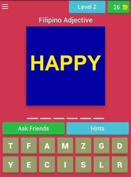 Pinoy Adjective Quiz (Filipino Quiz Game) apk screenshot