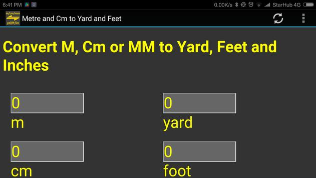 m, cm, mm to yard, feet, inch converter tool apk screenshot