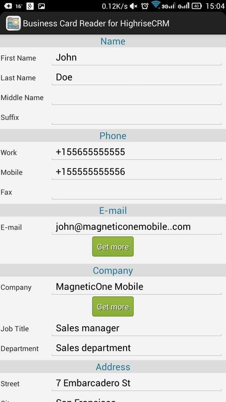 Business card reader for highrise crm apk baixar grtis business card reader for highrise crm apk imagem de tela reheart Choice Image
