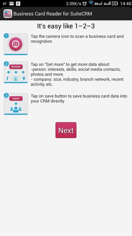 Business card reader for suite crm apk baixar grtis corporativo business card reader for suite crm apk imagem de tela reheart Gallery