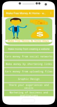 Make Free Money At Home - ways poster