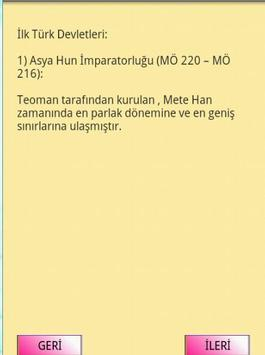 KPSS TARİH İLK TÜRK DEVLETLERİ apk screenshot