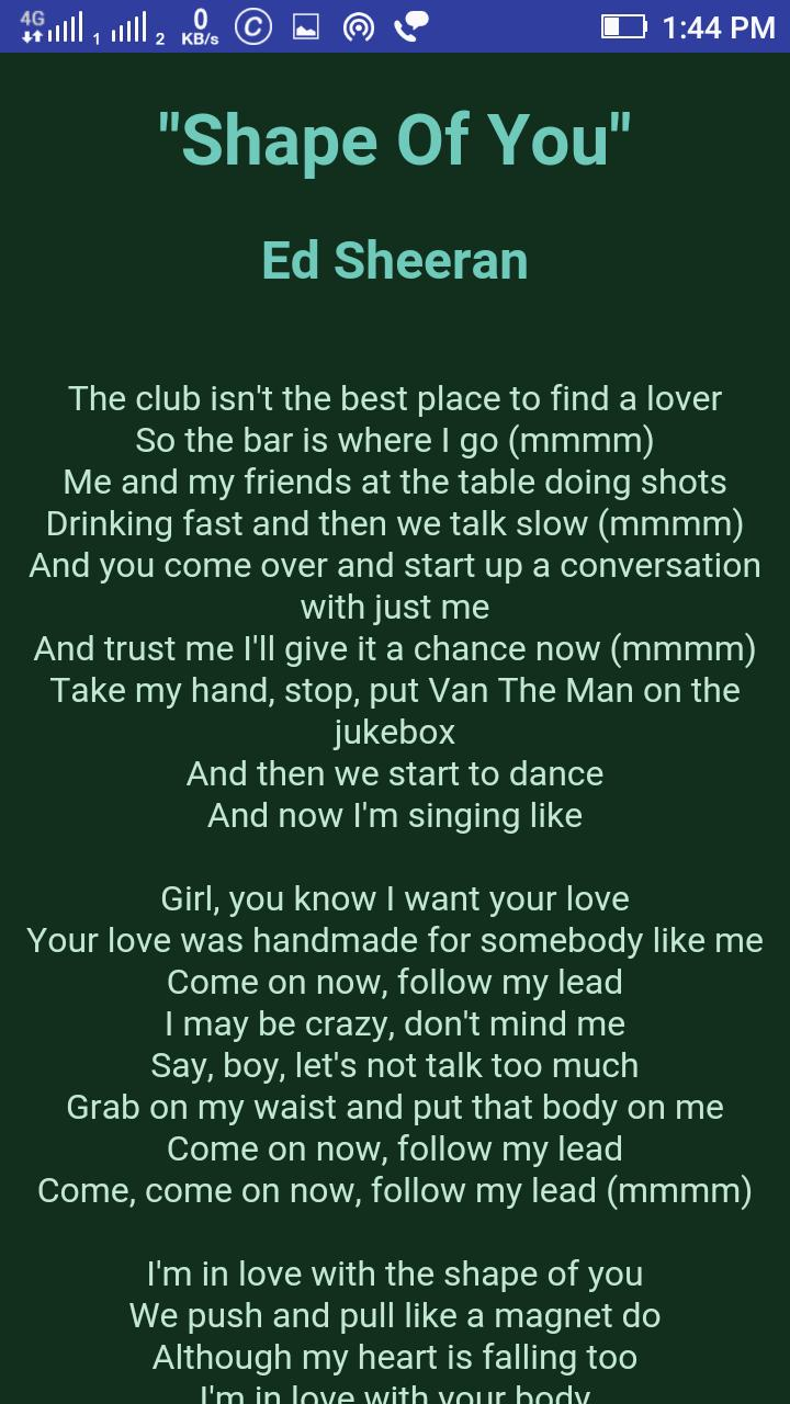 Ed Sheeran Lyrics new update for Android - APK Download