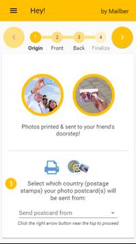 Hey! Send real photo postcards poster